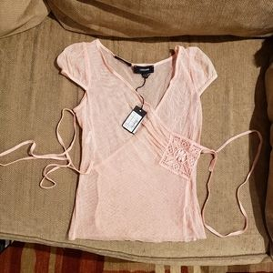 Ladies pink mesh wrap top